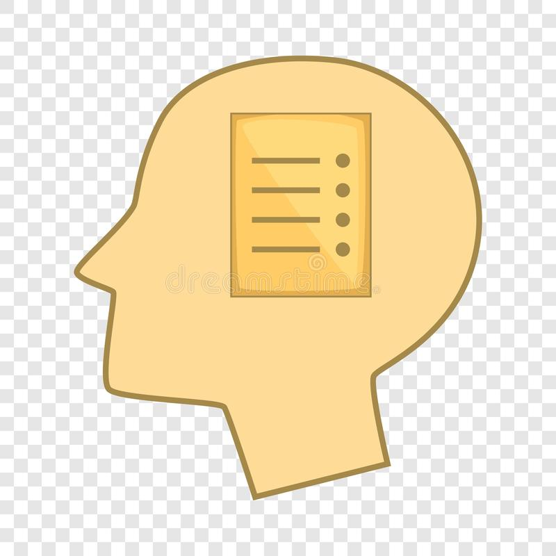 Hoja de papel en el icono de la cabeza humana, estilo de la historieta ilustración del vector