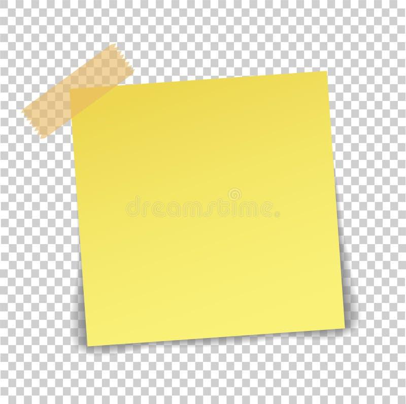 Hoja de papel en la cinta pegajosa translúcida con la sombra aislada en a libre illustration