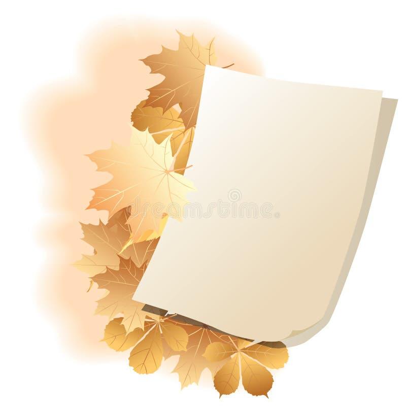 Hoja de papel en las hojas de un otoño del fondo. stock de ilustración