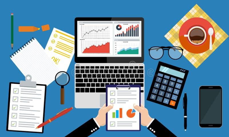 Hoja de papel, manos, lupa, papeleo, consultor, auditoría financiera del consejero de negocio ilustración del vector