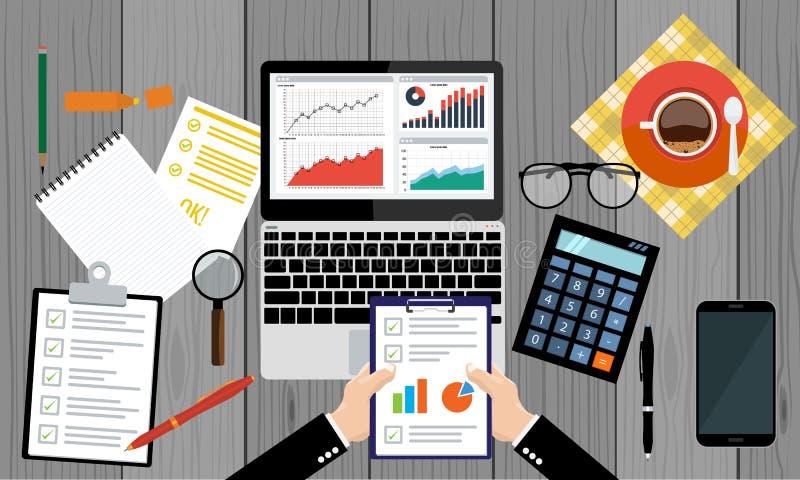 Hoja de papel, manos, lupa, papeleo, consultor, auditoría financiera del consejero de negocio libre illustration