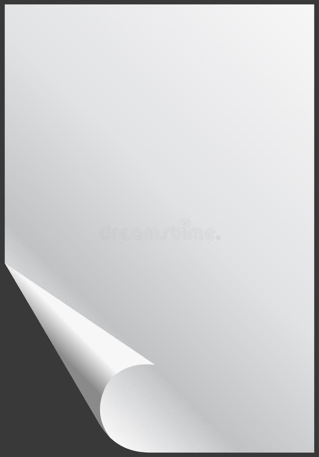 Hoja de papel vacía brillante en blanco con la esquina doblada stock de ilustración