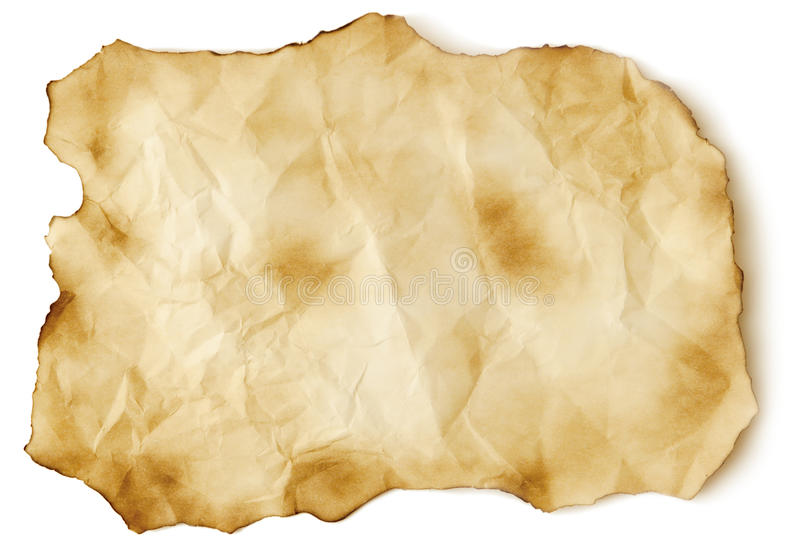 Hoja de papel vieja chamuscada fotografía de archivo