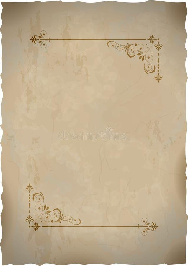 Hoja de papel vieja con el marco de la vendimia ilustración del vector