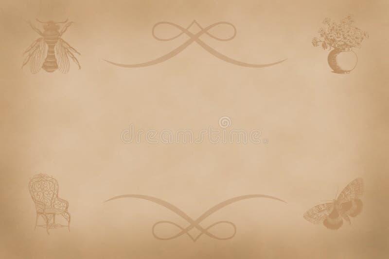 Hoja de papel vieja con un ornamento y la imagen de una mosca, una silla, mariposas, un florero de flores, vintage sentimental no stock de ilustración