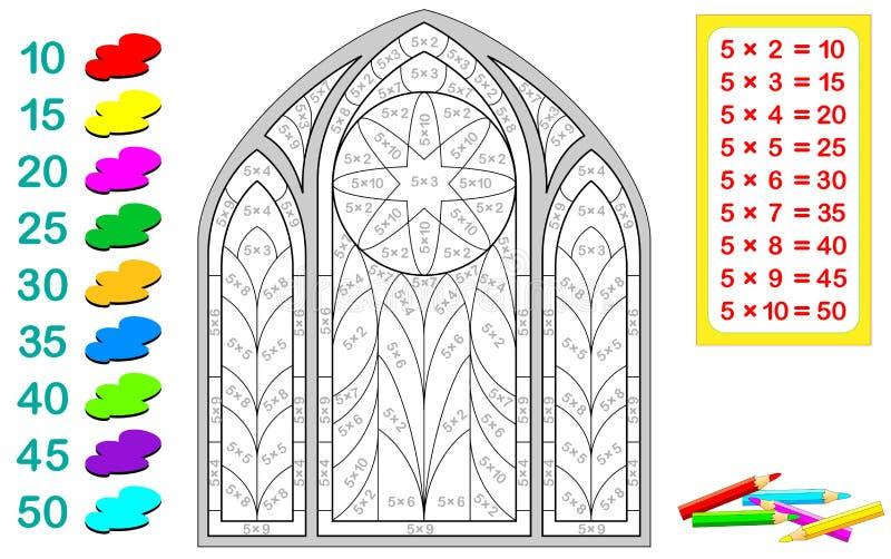 Hoja de trabajo con los ejercicios para los niños con la multiplicación por cinco Necesite solucionar ejemplos y pintar el vitral stock de ilustración
