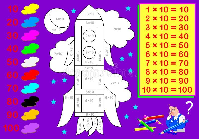 Hoja de trabajo con los ejercicios para los niños con la multiplicación por diez Necesite solucionar ejemplos y pintar la imagen libre illustration