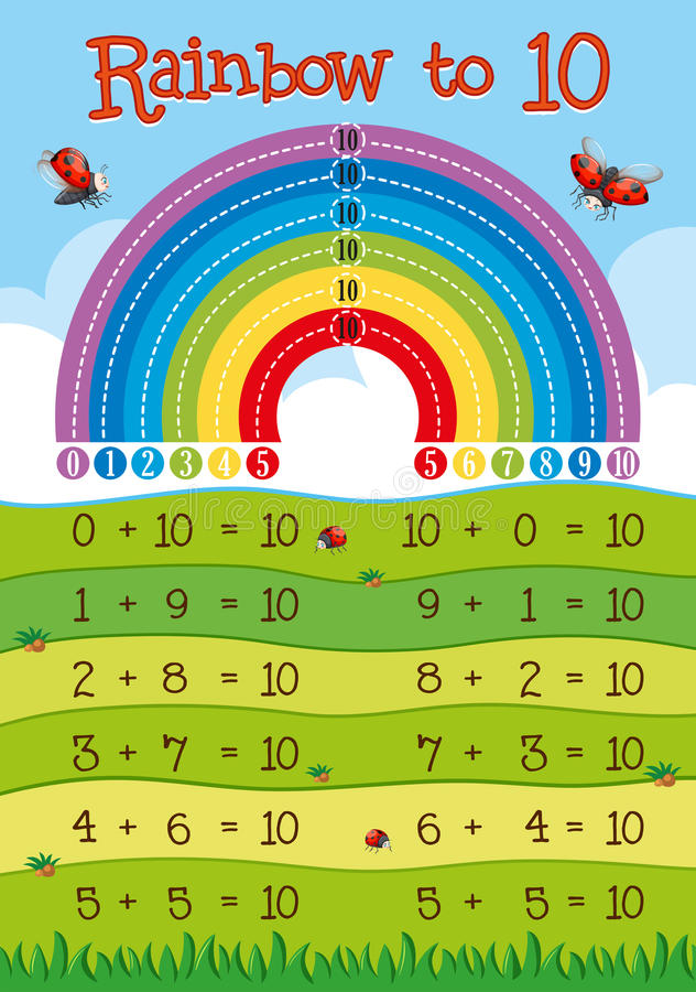 Hoja de trabajo de la adición con el arco iris en fondo ilustración del vector