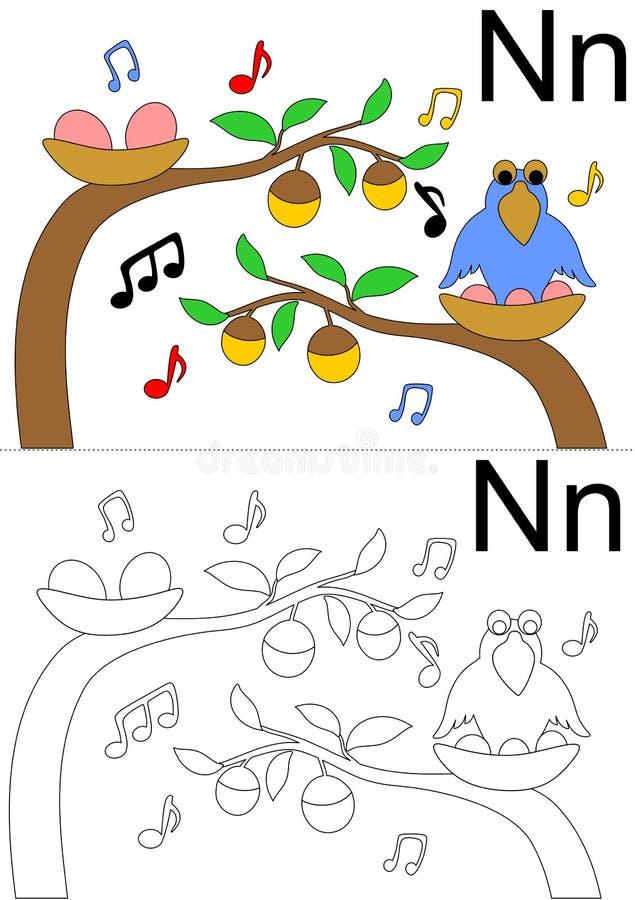 Hoja de trabajo de la letra N ilustración del vector