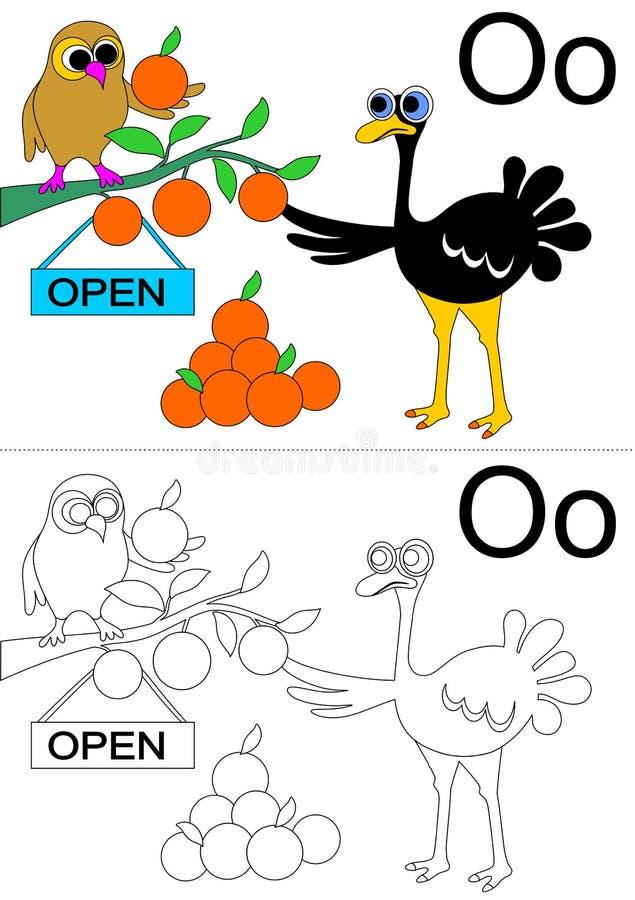 Hoja de trabajo de la letra O ilustración del vector