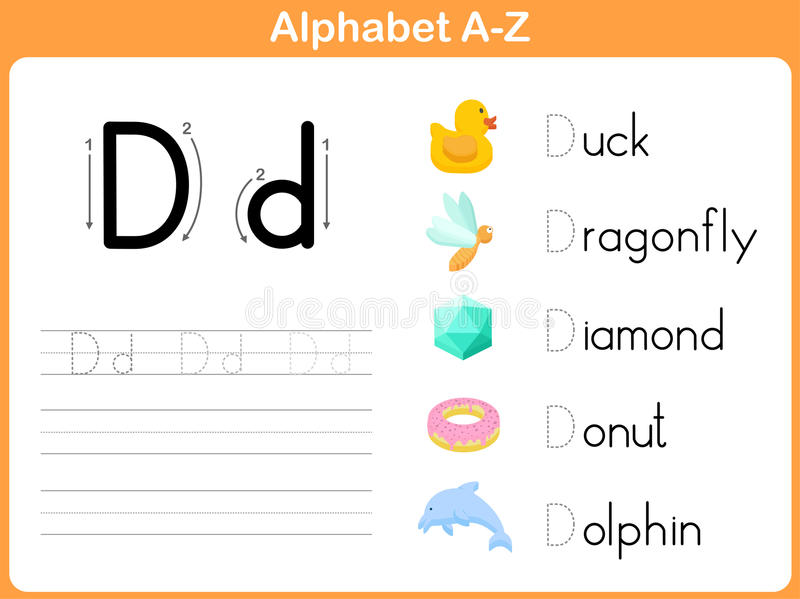 Hoja de trabajo de trazado del alfabeto ilustración del vector