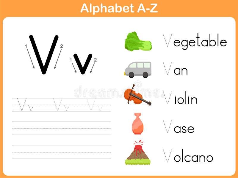 Hoja de trabajo de trazado del alfabeto stock de ilustración