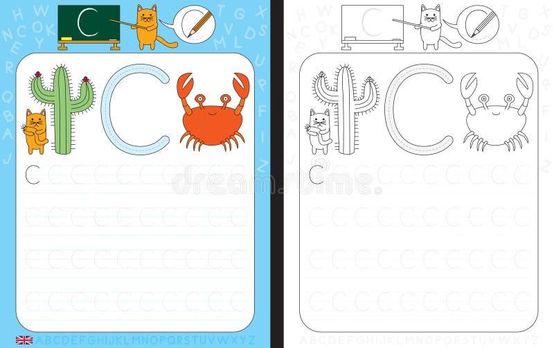 Hoja de trabajo de trazado del alfabeto libre illustration