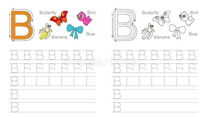 Hoja De Trabajo De Trazado Para La Letra B Ilustración del Vector ...