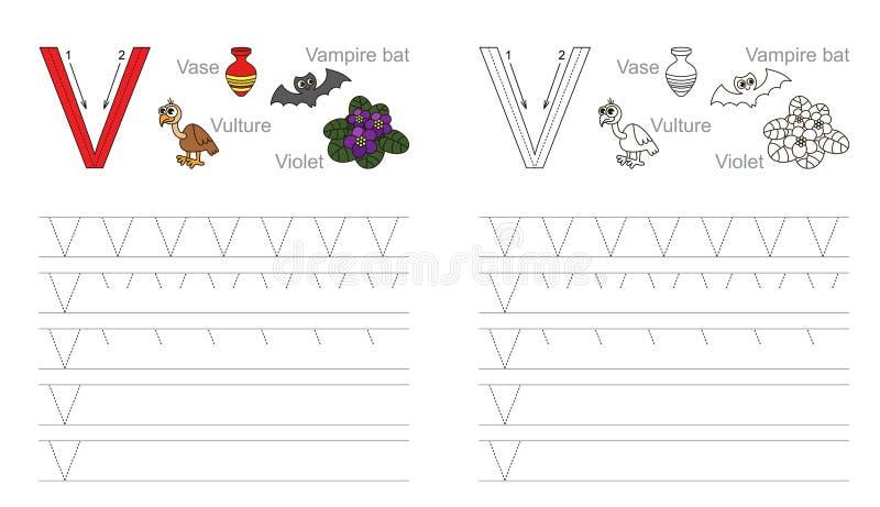 Hoja De Trabajo De Trazado Para La Letra V Ilustración del Vector ...