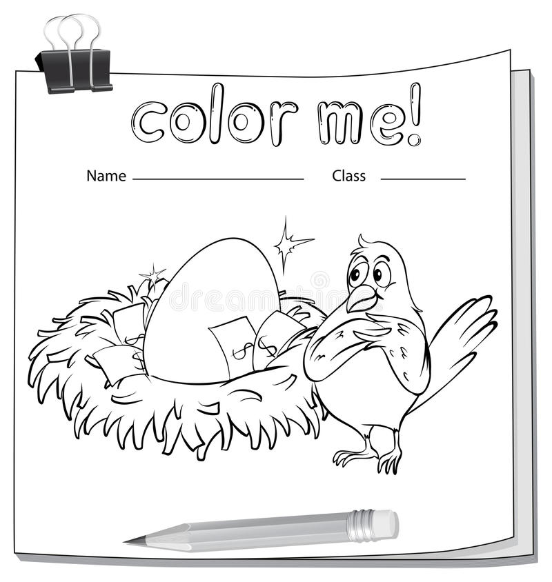 Hoja de trabajo del colorante con un pájaro al lado de la jerarquía ilustración del vector