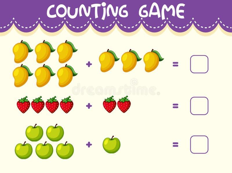 Hoja de trabajo del número de la matemáticas de la fruta libre illustration