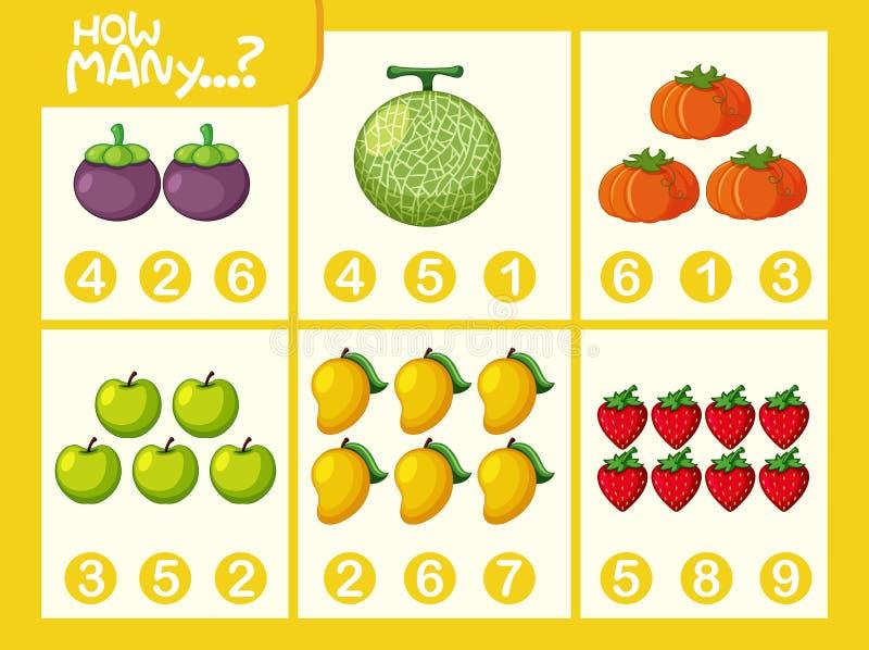Hoja de trabajo del número de la matemáticas de la fruta stock de ilustración