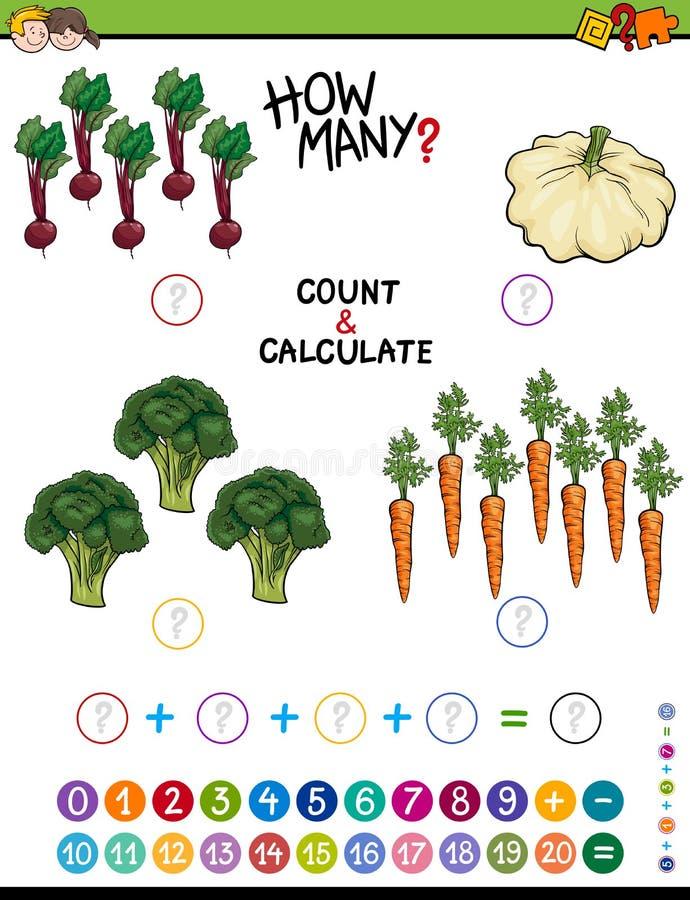 Hoja de trabajo educativa de la adición para los niños stock de ilustración