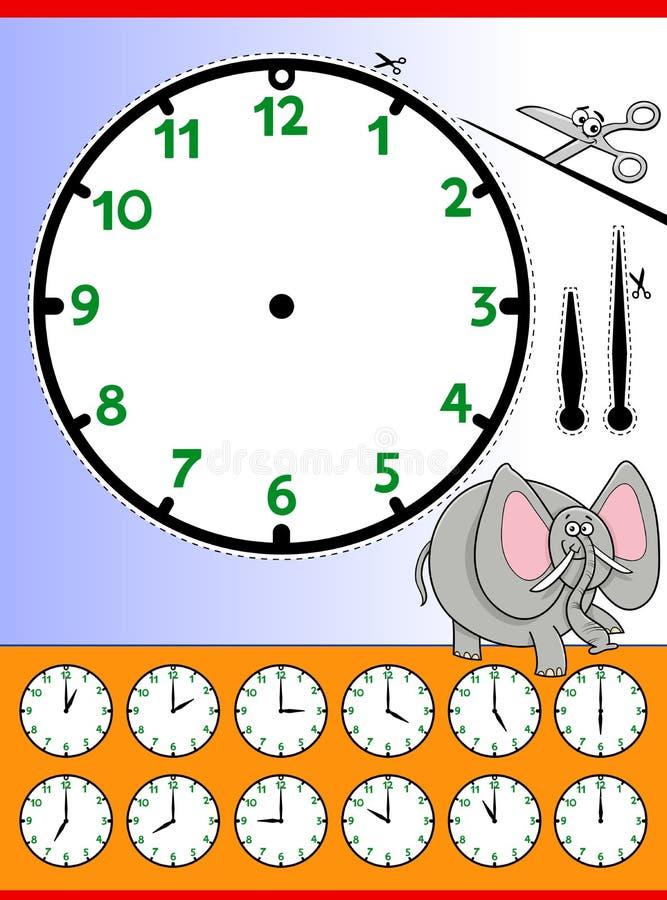 Hoja de trabajo educativa de la historieta de la cara de reloj stock de ilustración