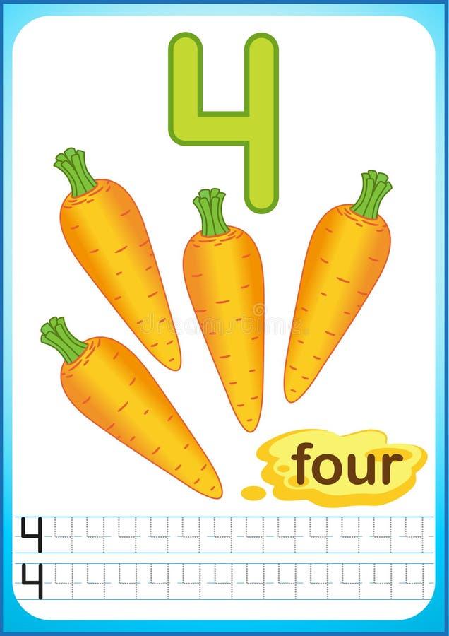 Hoja de trabajo imprimible para la guardería y el preescolar Ejercicios para escribir números Pimienta de chile vegetal brillante ilustración del vector