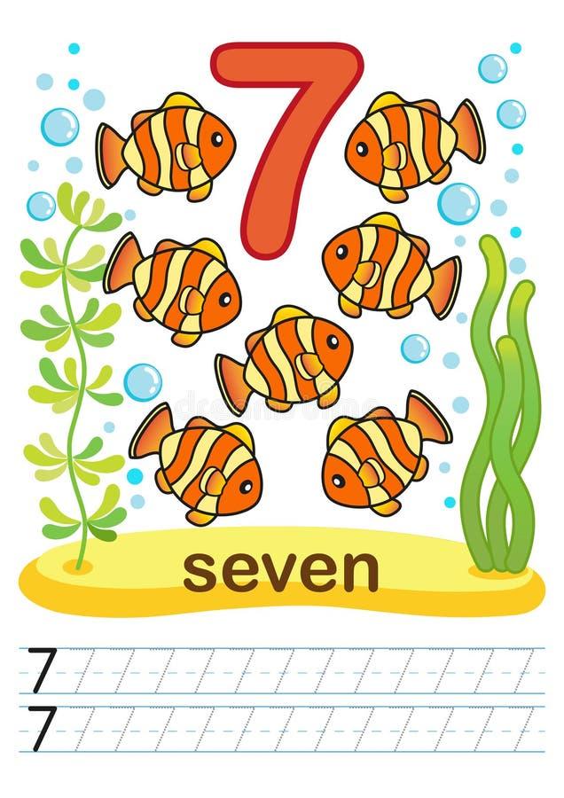 Hoja de trabajo imprimible para la guardería y el preescolar Entrenamos para escribir números Ejercicios de la matemáticas Figura stock de ilustración