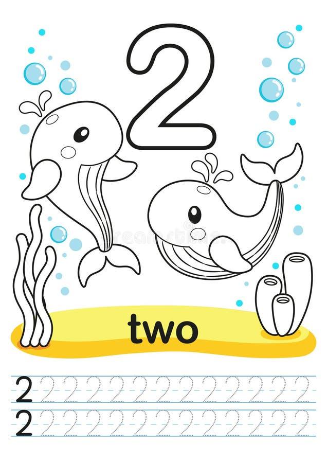 Hoja de trabajo imprimible que colorea para la guardería y el preescolar Entrenamos para escribir números Ejercicios de la matemá stock de ilustración