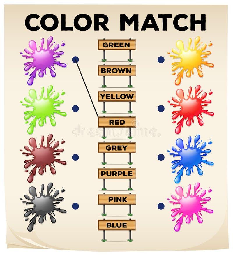 Hoja De Trabajo A Juego Con Colores Y Palabras Stock de ilustración ...