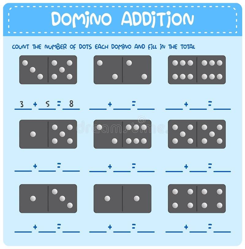 Hoja de trabajo de la adición de la matemáticas del dominó stock de ilustración