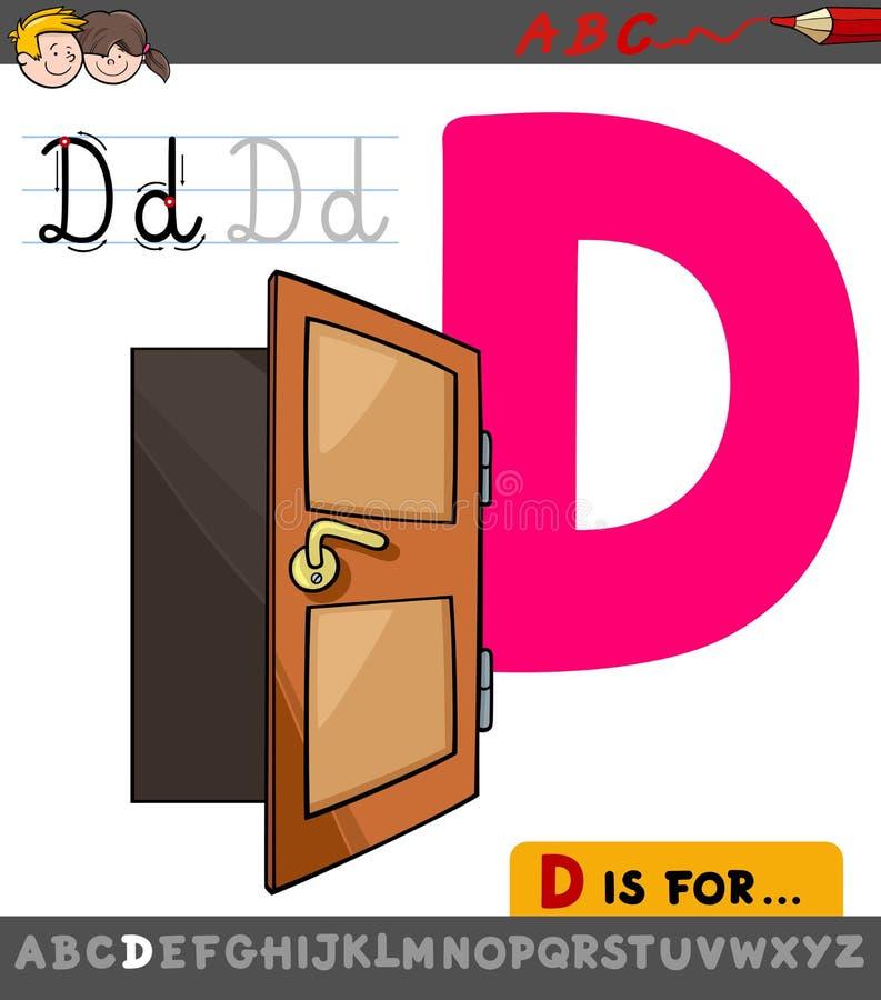 Hoja de trabajo de la letra D con la puerta de la historieta ilustración del vector