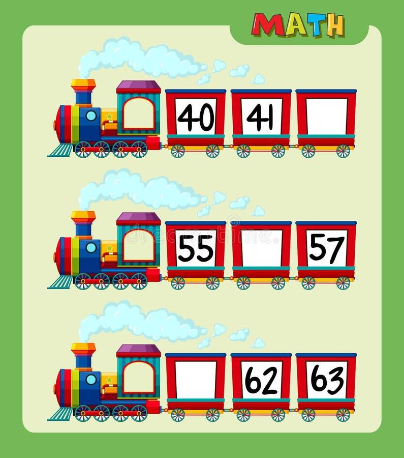 Hoja de trabajo de la matemáticas con la cuenta de números en el tren ilustración del vector