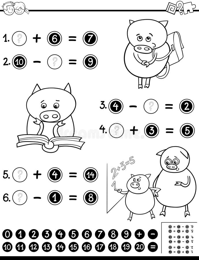Hoja De Trabajo Matemática Para Colorear Ilustración del Vector ...