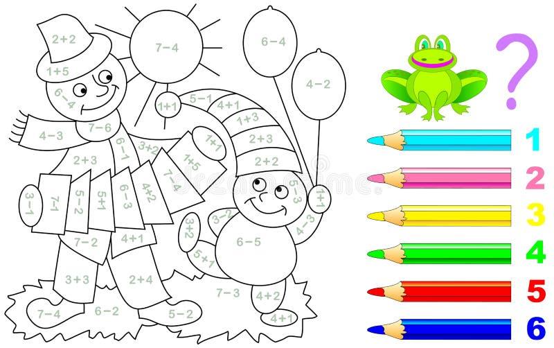 Hoja De Trabajo Matemática Para Los Niños En La Adición Ilustración ...