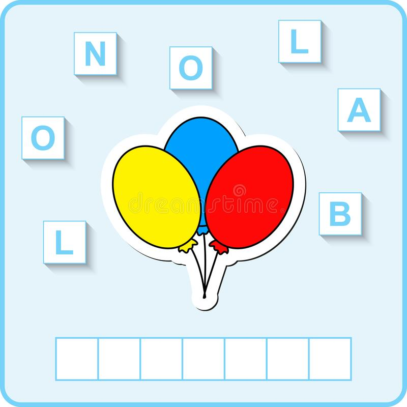 hoja de trabajo para la educación Juego educativo del rompecabezas de las palabras para los niños Ponga las letras en orden corre libre illustration