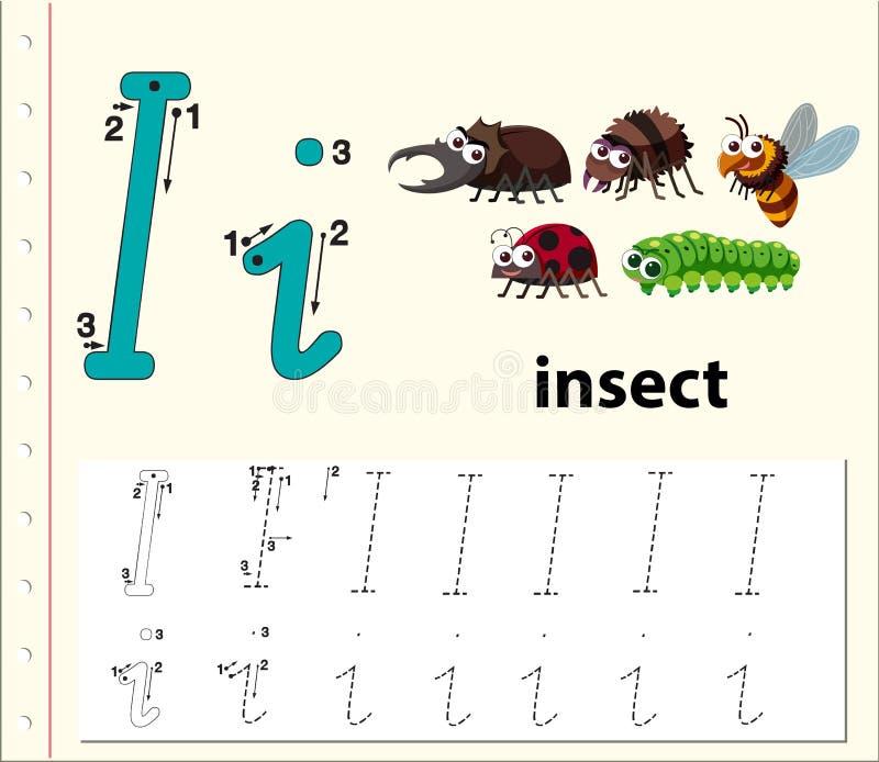 Hoja de trabajo de trazado del alfabeto de la letra I ilustración del vector