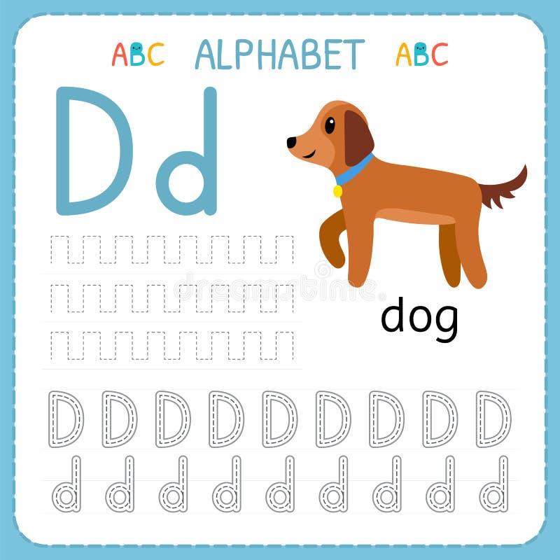 Hoja de trabajo de trazado del alfabeto para el preescolar y la guardería Letra D de la práctica de la escritura Ejercicios para  ilustración del vector