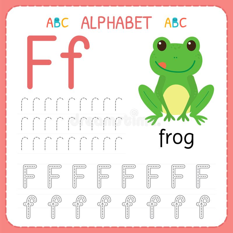 Hoja de trabajo de trazado del alfabeto para el preescolar y la guardería Letra F de la práctica de la escritura Ejercicios para  libre illustration