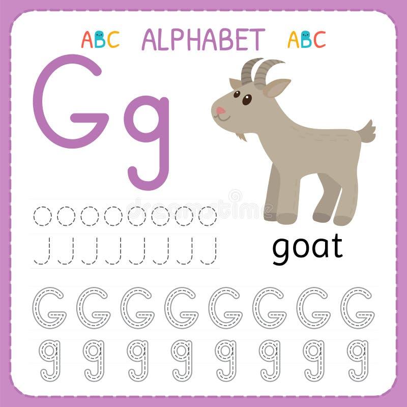 Hoja de trabajo de trazado del alfabeto para el preescolar y la guardería Letra G de la práctica de la escritura Ejercicios para  ilustración del vector