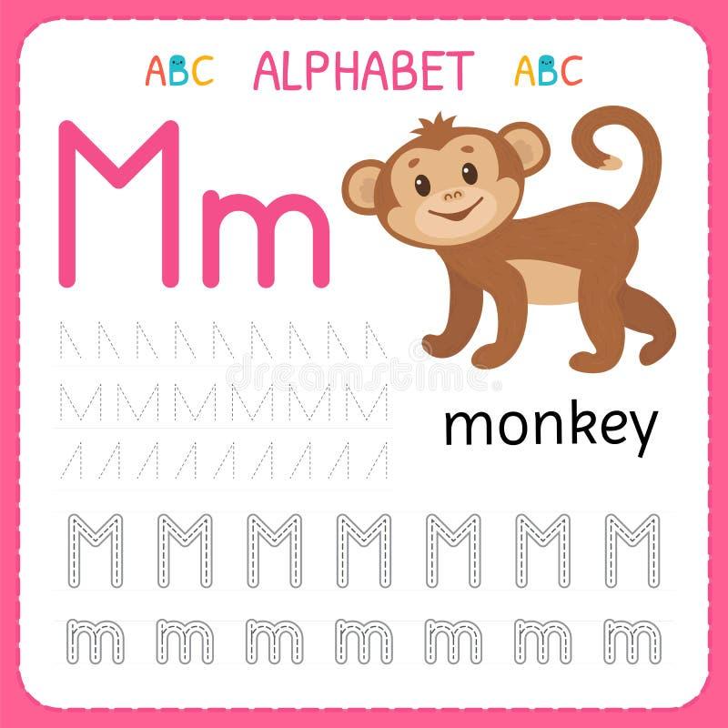 Hoja de trabajo de trazado del alfabeto para el preescolar y la guardería Letra M de la práctica de la escritura Ejercicios para  ilustración del vector
