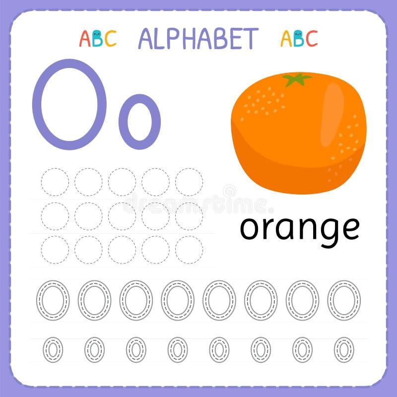 Hoja de trabajo de trazado del alfabeto para el preescolar y la guardería Letra O de la práctica de la escritura Ejercicios para  libre illustration
