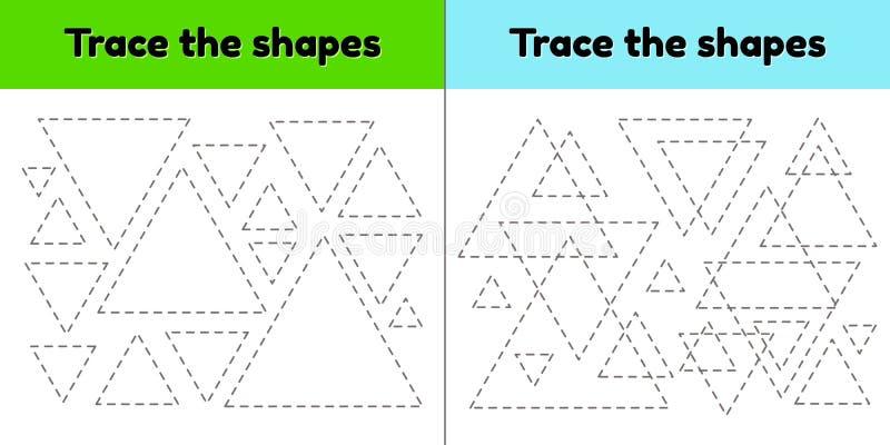 Hoja de trabajo de trazado educativa para la edad del preescolar y de escuela de los niños Remonte la forma geom?trica L?neas dis ilustración del vector