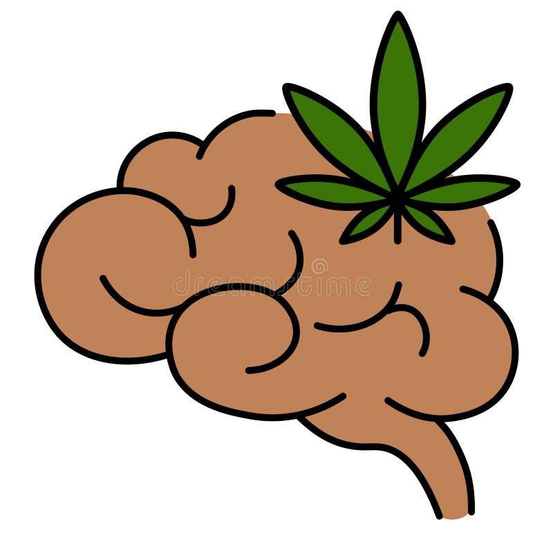 Hoja del cáñamo con la línea icono del cerebro stock de ilustración