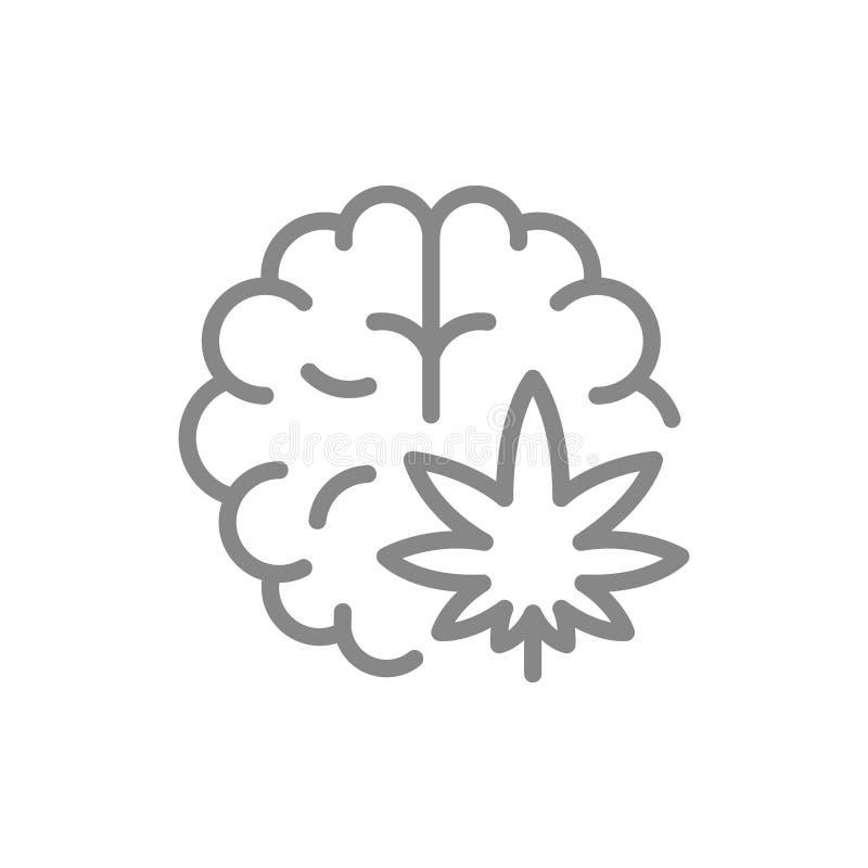 Hoja del cáñamo con la línea icono del cerebro Símbolo y muestra médicos de la marijuana ilustración del vector