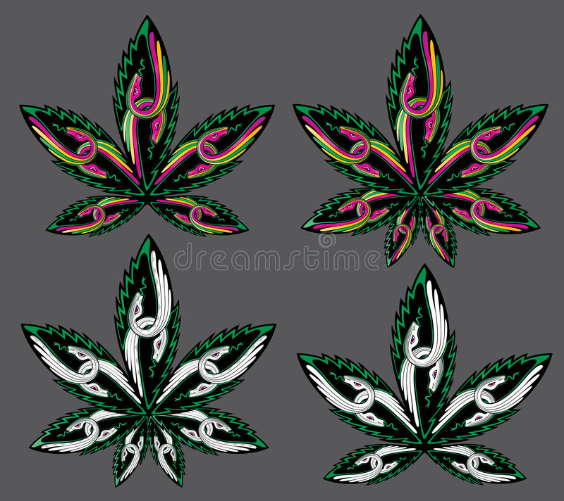 Hoja del cáñamo de la marijuana con la silueta colorida de la serpiente stock de ilustración