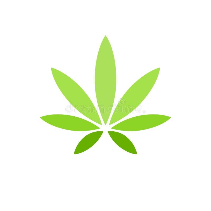 Hoja del cáñamo en el logotipo blanco del fondo Planta natural de la droga ilegal a fumar C??amo narc?tico herbario de la marijua stock de ilustración