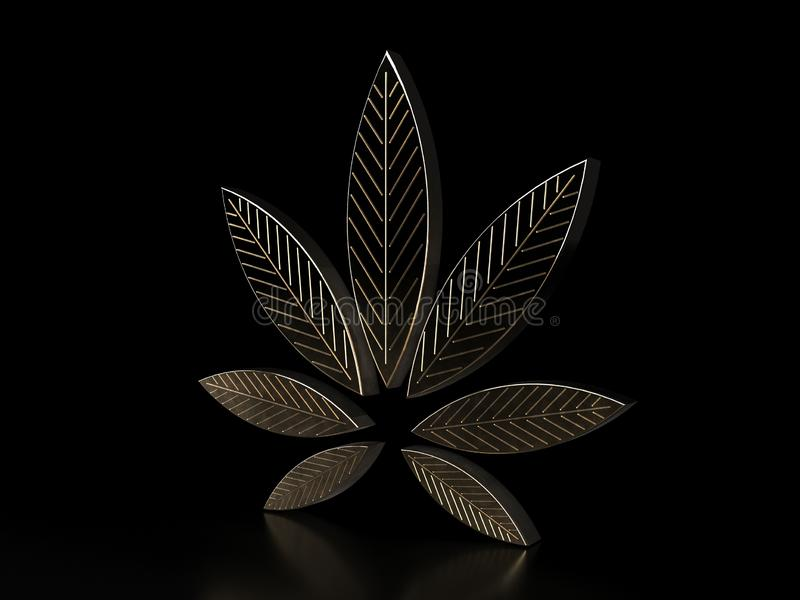 Hoja del cáñamo en fondo negro Hoja de oro de la marijuana E fotos de archivo libres de regalías