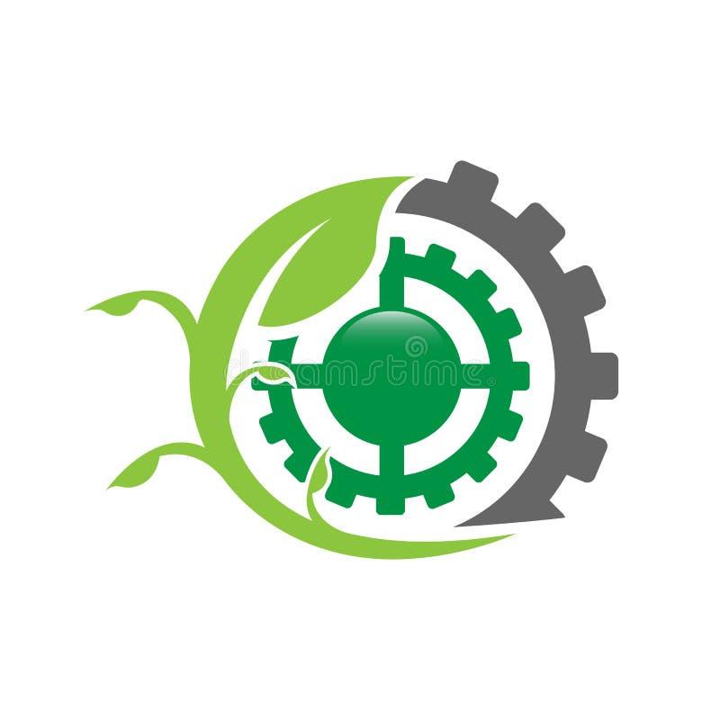 Hoja del logotipo de la fábrica de Eco con vector del diseño de la ecología del engranaje del diente stock de ilustración