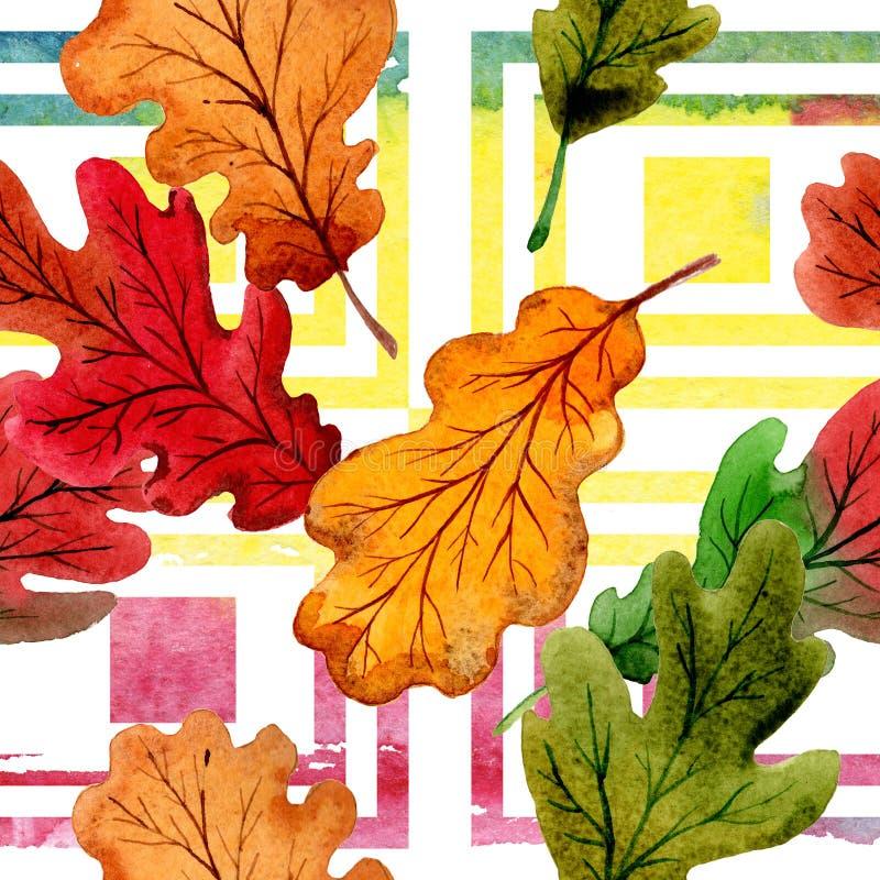 Hoja del otoño del modelo del roble en un estilo dibujado mano de la acuarela libre illustration