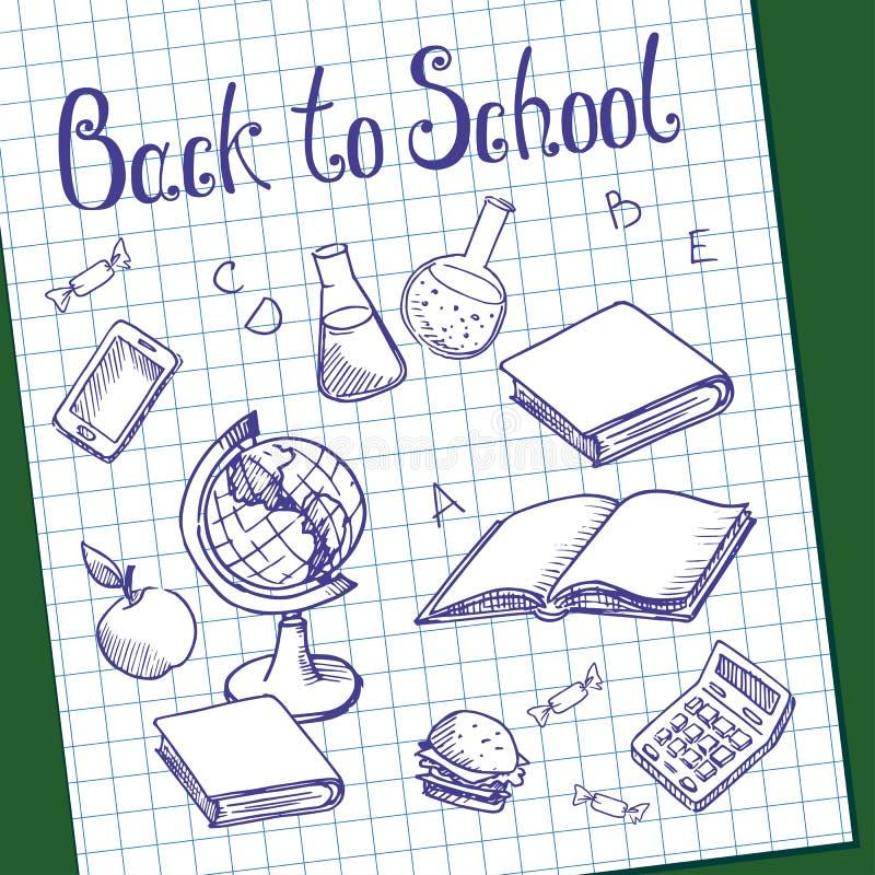 Hoja del papel cuadriculado con los objetos pintados en la pizarra verde de la escuela stock de ilustración