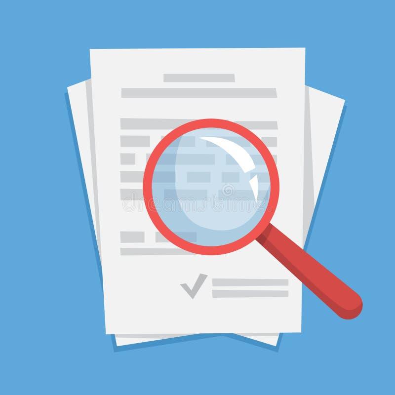 Hoja del papel del documento con la lupa en ella ilustración del vector